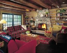 """Small and warm log cabin living room....very """"campy"""""""