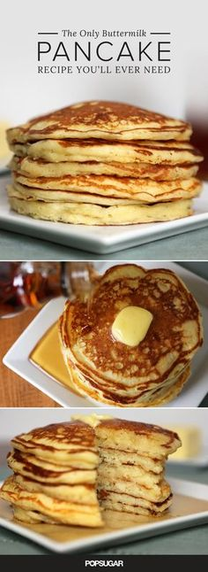 Only Buttermilk Pancake Recipe You'll Ever Need While many resort to pancake mix when making a special weekend breakfast, homemade pancakes are a must.While many resort to pancake mix when making a special weekend breakfast, homemade pancakes are a must. Breakfast Desayunos, Breakfast Dishes, Breakfast Recipes, Pancake Recipes, Breakfast Ideas, Avacado Breakfast, Fodmap Breakfast, Mexican Breakfast, Waffle Recipes