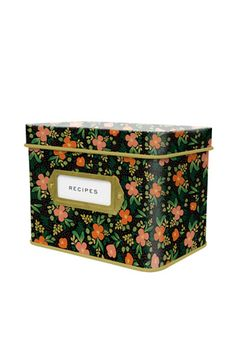 Love this tin recipe box from Rifle Paper.