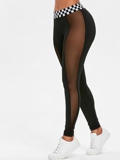 Sheer mesh panels ventilate heat and create an edgy look on these stretchy leggings with a wide elastic waistband in a contrasting monochrome gingham pattern. Flat seams flatter your body and you will feel like you Legging Sport, Sports Leggings, Workout Leggings, Women's Leggings, Printed Leggings, Cheap Leggings, Tribal Leggings, Mode Des Leggings, Crop Top And Leggings