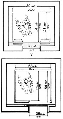 Minimum internal elevator dimensions for one wheelchair for Elevator plan drawing