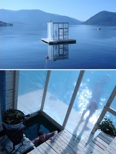 Floating sauna by Rintala Eggertsson, temporary installation in Hardangerfjorden, Norway. Reason Norway is amazing. Floating Architecture, Temporary Architecture, Interior Architecture, Spa Sauna, Sauna Design, Outdoor Sauna, Floating House, Small Buildings, House Goals