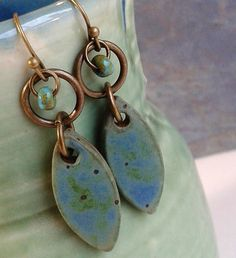 Ceramic Earrings Chunky Petal Shaped Earrings in by Artgirl56