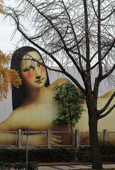 """Mona Lisa nua, parte da campanha do Museu Nacional de Arte """"Museu Nu"""", Seoul, Coréia do Sul, 2011."""