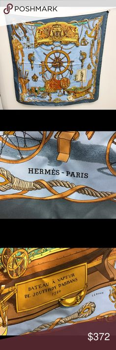 """Authentic Hermes Stage Coach/Equestrian Silk Scarf Hermes grey and tan """"Stage Coach/Equestrian"""" silk large scarf (36"""") Hermes Accessories Scarves & Wraps"""