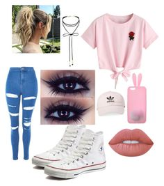 """""""Natural look"""" by haileysantana911 on Polyvore featuring WithChic, Topshop, Converse, Miss Selfridge, Lime Crime and adidas"""
