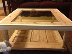 Accomplished coffee table made from a door