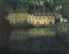 House by the river in full moon - oil on canvas, 1920 | Henri Eugène Augustin Le Sidaner