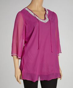 Take a look at this Fuchsia Embellished Tunic - Plus by Metro 22 on #zulily today!