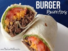Recipe for burger burritos. The perfect weeknight meal or lunch on-the-go. Delicious, easy to make, and everyone loves them! Double the recipe and freeze the extras for anytime you need a quick meal.