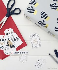 Holiday Gift Tags in 3 Colors from Creative Index. One of 20 FREE printable holiday gift tags ... perfect for decorating all your Christmas packages! | Hello Little Home