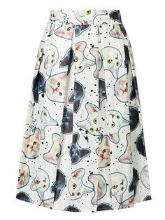 Women High Waist Casual Midi Skater Cute Cat Animal Prints Skirt 3 Colors 2016 Spring Summer Fashion