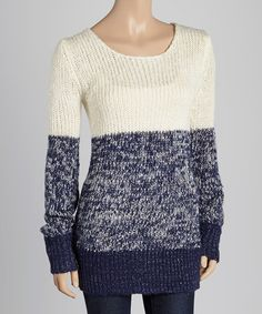 Look what I found on #zulily! White & Blue Color Block Sweater #zulilyfinds