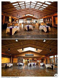 The front and back of the wedding reception hall at this High Desert Museum Wedding in Bend, Oregon