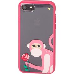 kate spade Monkey With Rose iPhone 7 Case - Pink Multi - Phone Cases ($40) ❤ liked on Polyvore featuring accessories, tech accessories, pink and kate spade