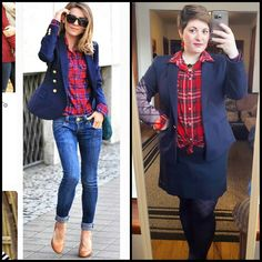 """#ChubbyChique 1-12-2016 #ootd #beYOUtiful16 #january2016promptandpin """"What's in Blue BLAZERS"""" #pinneditspinnedit Red plaid and navy blazer inspiration from @makelifeeasier_pl"""