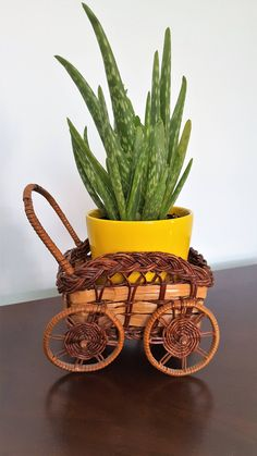 FOR SALE: Wagon Wicker Basket Planter by SoDarnedVintage on Etsy   #bohostyle #bohodecor #baskets #basketplanter #nurserydecor #wagonbasket #fleamarketstyle #etsy