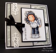 Hello everyone, for my card I have used Secret Tilda from the Magnolia Merry Little Christmas Collection 2010 and she is coloured with cop. Diy Cards Making, Stamped Christmas Cards, Step Cards, Embossed Cards, Card Making Inspiration, Copics, Card Tags, Kids Cards, Homemade Cards