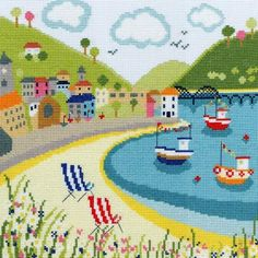 Deckchairs - Beside The Seaside Cross Stitch Kit from Bothy Threads