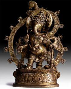 Vintage Hindu Bronze Statue  Four Armed Ganesh  Peacock Aureole God of Wealth