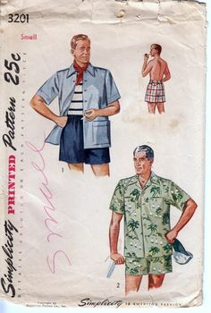Vintage 1950s Men's Shirt and Swim Shorts Simplicity 3201 Small | PenelopeRose - Supplies on ArtFire $22 #vintage #men's #1950s #fashion