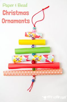 PAPER AND BEAD TREES are adorable homemade Christmas ornaments. An easy Christmas craft for kids and grown ups.