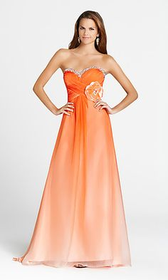 orange long strapless ombre homecoming prom dress