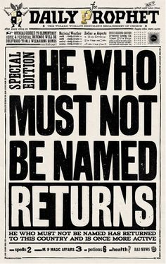 Harry Potter Daily Prophet He Who Must Not Be Named Returns Print - limited edition print is also numbered and embossed for a personal touch. Harry Potter Poster, Décoration Harry Potter, Harry Potter Thema, Harry Potter Bedroom, Harry Potter Cosplay, Harry Potter Halloween, Harry Potter Birthday, Harry Potter Newspaper, Harry Potter Bricolage