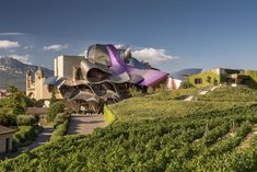 The Hotel Marques de Riscal is a hotel designed by Frank Gehry. It is set in its own vineyards near the town of Elciego, Alava. Frank Gehry, Fondation Louis Vuitton, Grand Tour, Top Hotels, Best Hotels, Santa Monica, Mountain Biking, Guggenheim Bilbao, Las Vegas