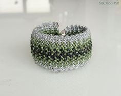 Silver and olive green woven handmade SoCoco Bracelet Macrame Bracelets, Olive Green, Crochet Earrings, Fashion Inspiration, Unique, Silver, Handmade, Jewelry, Hand Made