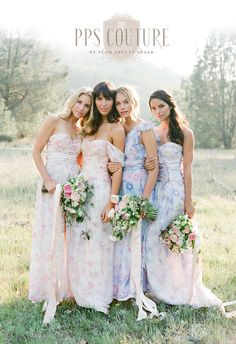 Floral Print bridesmaids dresses by PPS Couture