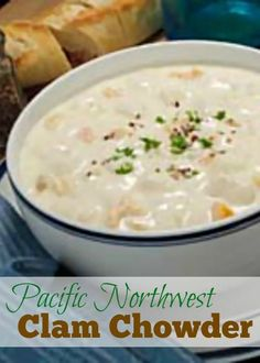 West Coast clam chowder is a bisque style chowder. Cooked with Grandma's secret ingredient of bacon and served for Christmas Eve dinner every year. Clam Chowder Recipes, Chowder Soup, Seafood Recipes, Soup Recipes, Cooking Recipes, Clam Recipes, Asian Recipes, Fish Chowder, Soups
