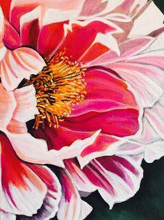 Pink Peony by karlinmeehanstudios on Etsy Most Beautiful Flowers, Simple Flowers, Macro Flower, Flower Art, Peony Drawing, Happy Art, Painting Lessons, Large Painting, Pink Peonies