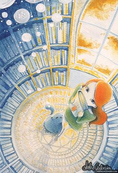 A Secret Library ---- when you sneak around a wizard's tower, you find plenty of secret spaces filled with books you're not supposed to read... so which one should I read first? ---- watercolors, gouache, soft pastels and colored pencils on paper ---- Anita Gadzinska, children illustrator. Visit http://anitagadzinska.com if you're interested in my portfolio or would like to know more about me~