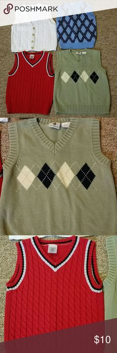 Boys sweater vest bundle 4T 4 sweater vests. One green, one red, one white and one blue. Shirts & Tops Sweaters