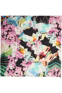 Mary Katrantzou Sugarcane printed modal and cashmere-blend scarf