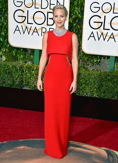 BEST: Jennifer Lawrence rarely plays it safe during awards season, but this crimson Dior design with daring side cutouts (and amazing diamond collar!) is absolutely fearless. Just one question: It this winning look 100% trip-proof? #GoldenGlobes