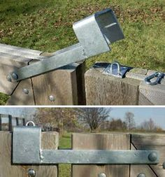 diy outdoor projects The Throw Over Gate Loop Latch is a simple way to latch two gates together. This latch operates by simply flipping over to the secondary gate and bracing it to Backyard Projects, Outdoor Projects, Home Projects, Backyard Ideas, Backyard Designs, Diy Backyard Fence, Deck Landscaping, Backyard Cottage, Gate Locks