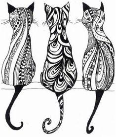 Ажурные трафареты котов. 3 Cats coloring page.