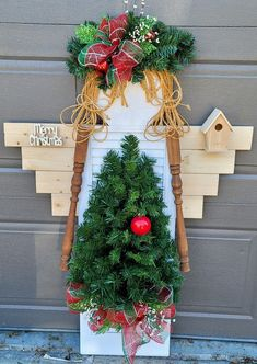 """I'm going to get some battery operated Christmas lights for her tree. 50"""" tall holiday shutter garden angel by marlas. #diy #diyoutdoorlights Diy Christmas Lights, Decorating With Christmas Lights, Cheap Christmas, Christmas Wreaths, Battery Operated Christmas Lights, Garden Angels, Easy Garden, Shutter, Light Decorations"""