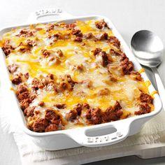 Spaghetti Pie Casserole Recipe -My family adores this casserole. It's old-timey comfort food. —Patricia Lavell, Islamorada, Florida