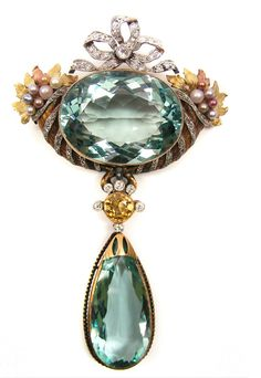 Antique aquamarine, diamond and pearl pendant brooch, c.1900. S.J. Phillips Ltd Edwardian era