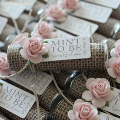 "Mint wedding Favors - Set of 50 mint rolls - ""Mint to be"" favors with personalized tag - burlap, pale pink, blush, mint, rustic, shabby chic by BabyEssentialsByMel on Etsy https://www.etsy.com/au/listing/203328718/mint-wedding-favors-set-of-50-mint-rolls"