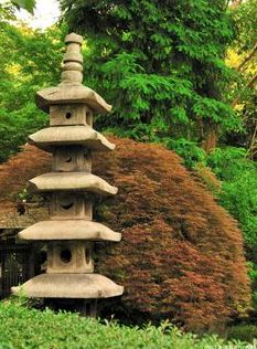Just realized today that I really need a garden pagoda in the back left corner of my yard. Wonder where I can get one or how hard it is to make one? Organic Farming, Organic Gardening, Amazing Gardens, Beautiful Gardens, Japanese Modern, Japanese Lamps, Japanese Style, Stone Lantern, Garden Lanterns