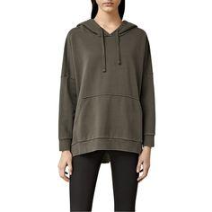 AllSaints Emmy Hoodie, Deep Fern Green (1.105 NOK) ❤ liked on Polyvore featuring tops, hoodies, oversized hooded sweatshirt, hooded tops, hooded pullover, oversized hoodies and long sleeve hoodie
