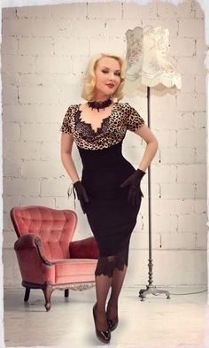 Here Kitty Kitty Cowl Wiggle Dress