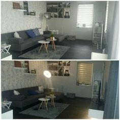 Living room - grey & white colours as a base combined with home decorations in different colors