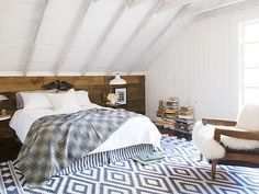A gorgeous outlet-store dhurrie rug softens this bedroom floor.