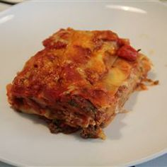 Classic and Simple Meat Lasagna Allrecipes.com. I made this tonight and put it in the freezer to take on our trip to Maine in a couple weeks. Hopefully its good :-)
