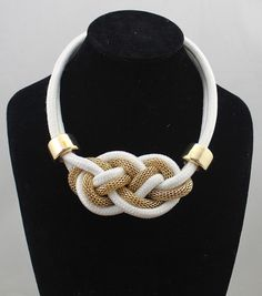white Statement Necklace,knot cord Necklace, knot rope Necklace, nautical knotted jewelry, tie the knot necklace, bridesmaid gift,